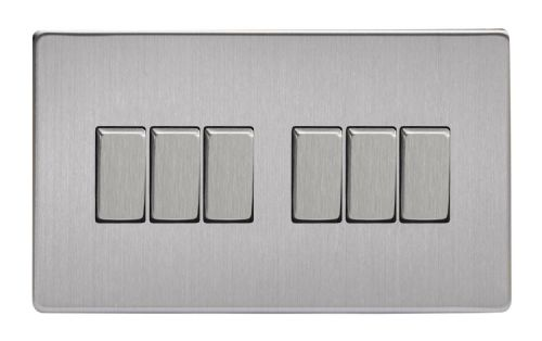 Varilight XDS96S Screwless Brushed Steel 6 Gang 10A 1 or 2 Way Rocker Light Switch